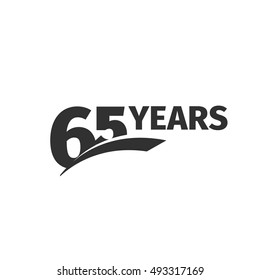 Isolated abstract black 65th anniversary logo on white background. 65 number logotype. Sixty -five years jubilee celebration icon. Sixty-fifth birthday emblem. Vector anniversary illustration