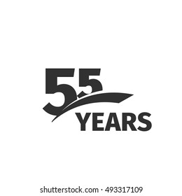 Isolated abstract black color 55th anniversary logo on white background. 55 number logotype. Fifty-five years celebration icon. Fifty-fifth birthday greeting emblem. Vector anniversary illustration