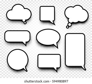 Isolated abstract black and white color comics speech balloons icons collection on checkered background, dialogue boxes signs set,dialog frames vector illustration.