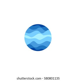 Isolated abstract blue color round shape logo on white background, water vector illustration