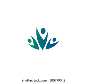 Isolated abstract blue and green color group of three people logo on white background vector illustration