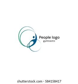 Isolated abstract blue and green color human body silhouette with circular elements logo on white background vector illustration