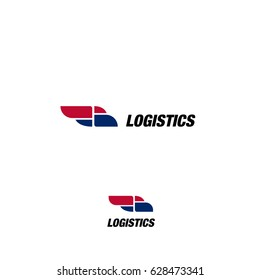 Isolated abstract blue and pink color truck silhouette logo on white background, transportation logotype with word logistics vector illustration.