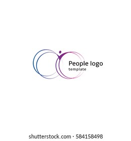 Isolated abstract blue and purple color human body silhouette with circular elements logo on white background vector illustration