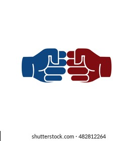 Isolated abstract brown and blue color human hands logo. Friendly punching fists logotype. Gesture language sign. Business deal symbol. Greeting and congratulating icon. Vector illustration.
