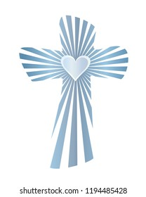 Isolated abstract christian cross with rays and heart