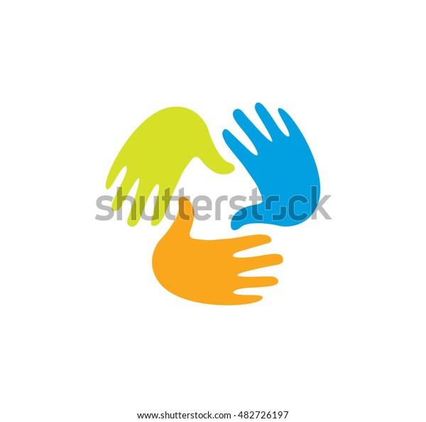 Isolated Abstract Colorful Children Hands Together Stock