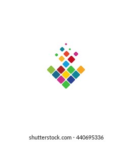 Isolated abstract colorful rhombus shape mosaic vector logo. Unusual geometric arrow down direction sign. Bright puzzle squares. Colorful gradient in a shape of an arrow. Bright mosaic arrow.