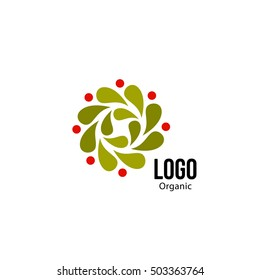 Isolated abstract colorful round shape red and orange color logo. Spinning spiral logotype. Autumn leaves circle icon. Floral decoration sign. Unusual frame symbol. Vector spining spiral illustration