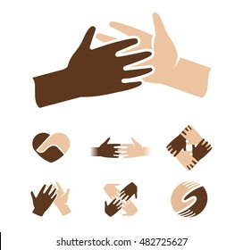 Isolated abstract dark and light skin human hands together logo. Black and white people friendship logotype. Give five gesture. Interracial help sign. Equal rights symbol. Vector illustration.