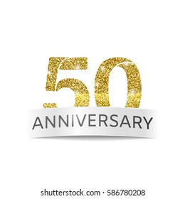 Isolated abstract Fiftieth birthday anniversary banner vector illustration. Gold glitter logo.