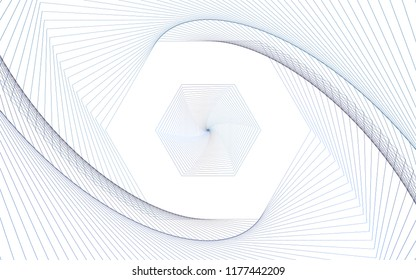 Isolated, Abstract Geometric Swirl Background Wallpaper Design Vector Graphic, Dark Blue on White, Hexagon Shape, Line Iterations, Expanding, Modern, Digital, Techie