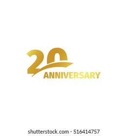 Isolated abstract golden 20th anniversary logo on white background. 20 number logotype. Twenty years jubilee celebration icon. Twentieth birthday emblem. Vector illustration