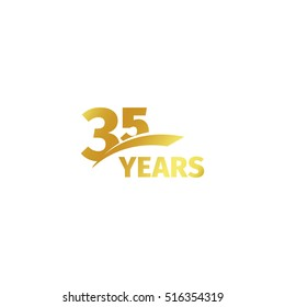 Isolated abstract golden 35th anniversary logo on white background. 35 number logotype. Thirty-five years jubilee celebration icon. Birthday emblem. Vector illustration.