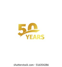 Isolated abstract golden 50th anniversary logo on white background. 50 number logotype. Fifty years jubilee celebration icon. Fiftieth birthday emblem. Vector illustration