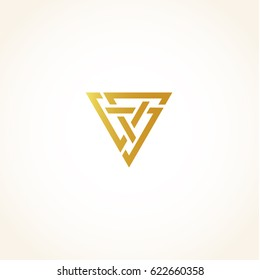 Isolated abstract golden color triangles contour logo on black background, geometric triangular shape logotype, gold luxury decoration vector illustration.
