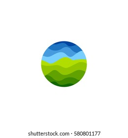 Isolated abstract green and blue color round shape logo on white background, natural landscape vector illustration