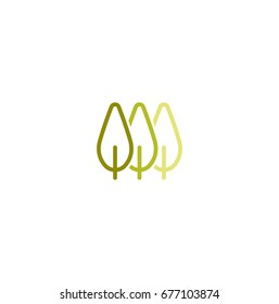 Isolated abstract green color leaves linear vector logo. Unusual trees illustration. Natural elements sign. Organic products symbol.