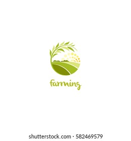 Isolated abstract green color round shape sunny meadow logo, agricultural logotype vector illustration