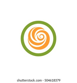 Isolated abstract green and orange color round shape logo. Flower in a circle logotype. Rose icon. Spinning spiral sign. Sweet lolly pop symbol. Swirl, tornado emblem. Vector flower illustration.