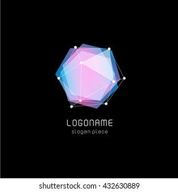Isolated abstract hexagon vector logo. Pink and blue color sign. Poligonal geometric figure. Transparent overlays. Gemstone image.