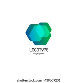 Isolated abstract hexagons overlays vector logo. Polygonal translucent geometric shape figure logotype on the white background, Blue, green,turquoise color illustration.