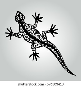 Isolated abstract lizard with patterns. Wildlife decorative collection. Vector illustration