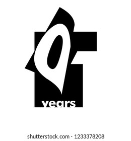 Isolated abstract logo 1 years. In the form of an open book, magazine. Happy greeting card for the 1th birthday. Black color writing on white background.