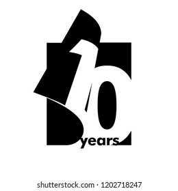 Isolated abstract logo 10 years. In the form of an open book, magazine. Happy greeting card for the 10th birthday. Black color writing on white background.