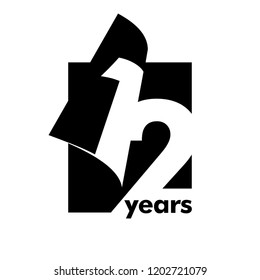 Isolated abstract logo 12 years. In the form of an open book, magazine. Happy greeting card for the 12th birthday. Black color writing on white background.