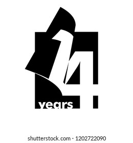 Isolated abstract logo 14 years. In the form of an open book, magazine. Happy greeting card for the 14th birthday. Black color writing on white background.