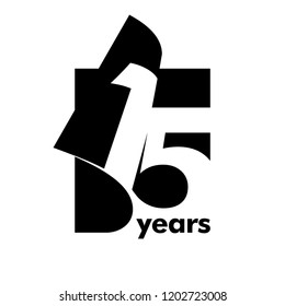 Isolated abstract logo 15 years. In the form of an open book, magazine. Happy greeting card for the 15th birthday. Black color writing on white background.