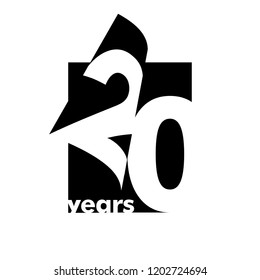 Isolated abstract logo 20 years. In the form of an open book, magazine. Happy greeting card for the 20th birthday. Black color writing on white background.