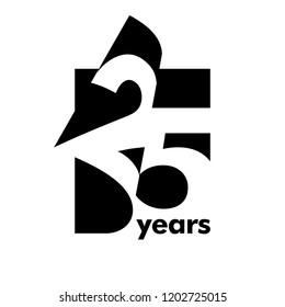 Isolated abstract logo 25 years. In the form of an open book, magazine. Happy greeting card for the 25th birthday. Black color writing on white background.