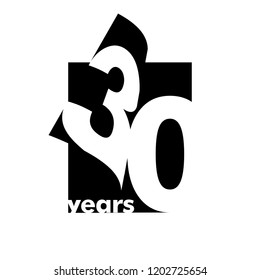 Isolated abstract logo 30 years. In the form of an open book, magazine. Happy greeting card for the 30th birthday. Black color writing on white background.