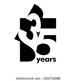 Isolated abstract logo 35 years. In the form of an open book, magazine. Happy greeting card for the 35th birthday. Black color writing on white background.