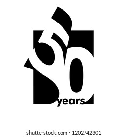 Isolated abstract logo 50 years. In the form of an open book, magazine. Happy greeting card for the 50th birthday. Black color writing on white background.