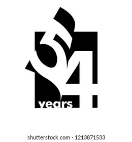 Isolated abstract logo 54 years. In the form of an open book, magazine. Happy greeting card for the 54th birthday. Black color writing on white background.
