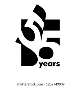Isolated abstract logo 55 years. In the form of an open book, magazine. Happy greeting card for the 55th birthday. Black color writing on white background.