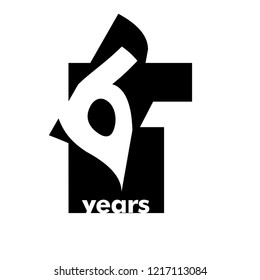 Isolated abstract logo 61 years. In the form of an open book, magazine. Happy greeting card for the 61th birthday. Black color writing on white background.