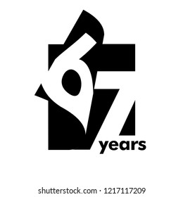 Isolated abstract logo 67 years. In the form of an open book, magazine. Happy greeting card for the 67th birthday. Black color writing on white background.