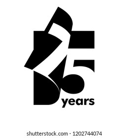 Isolated abstract logo 75 years. In the form of an open book, magazine. Happy greeting card for the 75th birthday. Black color writing on white background.