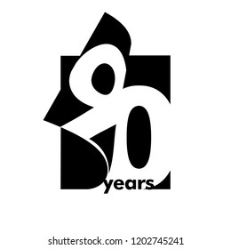 Isolated abstract logo 90 years. In the form of an open book, magazine. Happy greeting card for the 90th birthday. Black color writing on white background.