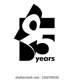Isolated abstract logo 95 years. In the form of an open book, magazine. Happy greeting card for the 95th birthday. Black color writing on white background.