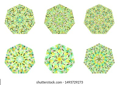 Isolated abstract mosaic pattern heptagon logo template set - heptagonal geometrical vector element on background