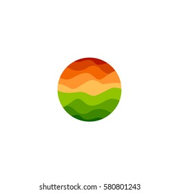 Isolated abstract orange and green color round shape logo on white background, landscape with sunset vector illustration