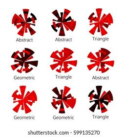 Isolated abstract red shade round shape logo of triangles set on white background, diagram icons collection, geometric elements vector illustration