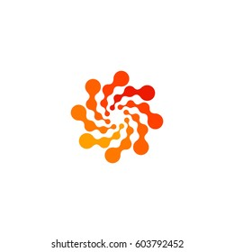 Isolated abstract round shape orange color logo, dotted stylized sun logotype on white background,swirl vector illustration.