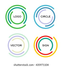Isolated abstract round shape vector logo set. Outlined circular colorful geometric logotype collection.
