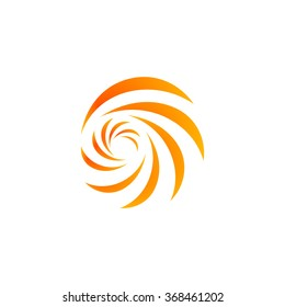 Isolated abstract spinning vector logo. Natural disasters weather forecast symbol. Hypnotic spiral logotype. Yellow tornado, hurricane, vortex, swirl, tsunami illustration. Sunny sign.